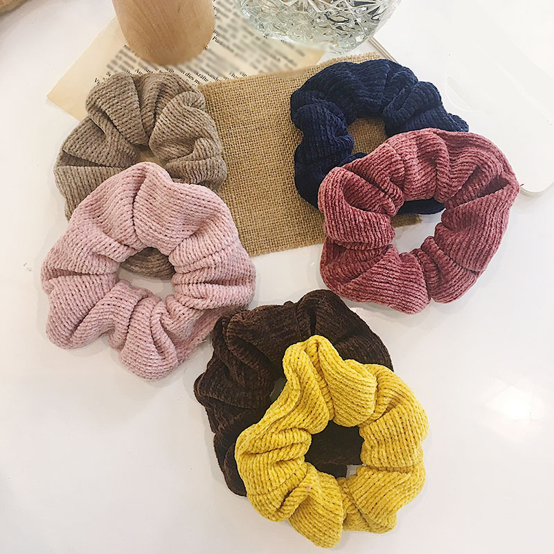 Hot Sale Velvet Scrunchies Stripe Large Size Ponytail Holder Solid Color Hair Ring Elastic Hair Bands Girls Hair Accessories New