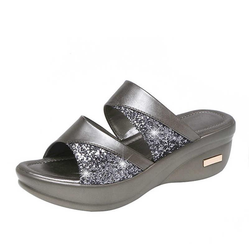 נשים קיץ כפכפים גבירותיי גליטר PU טריזי נעליים נשי מזדמן סנדלים עקב סנדלי נוח פלטפורמת אישה נעליים