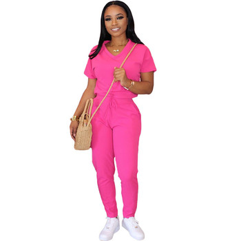 Casual Jogger 2 Piece Set Women Tracksuit Short Sleeve T-shirt Top and Pants Sweat Suit Summer Two Piece Outfits Matching Sets casual matching sets summer two piece set o neck short sleeve t shirt high waist side striped shorts sets