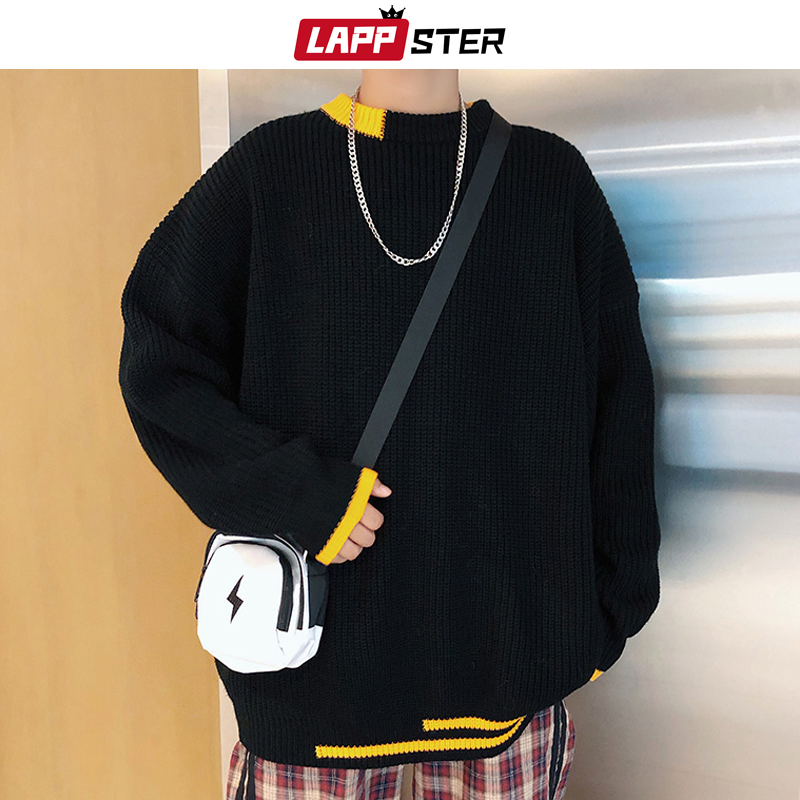 LAPPSTER Men Korean Patchwork Sweaters Pullovers 2019 Mens Black Fashions Casual Oversized Knitted Sweater Autumn Oversized Tops