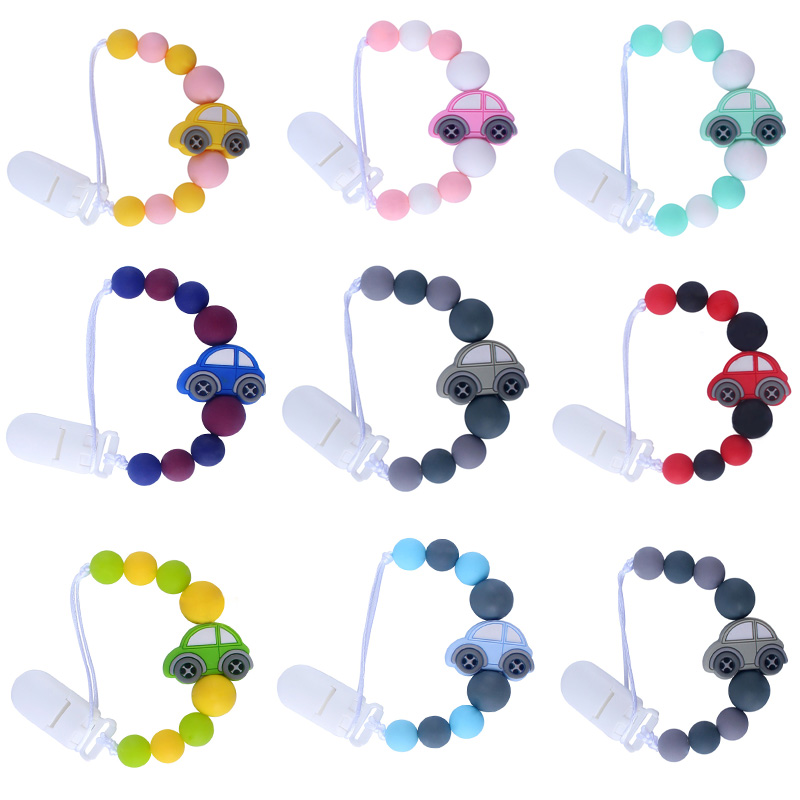 Charm Silicone Car Beads Pendant Nipple Pacifier Chain Clip Round Silicone Beads Baby Nipple Holder
