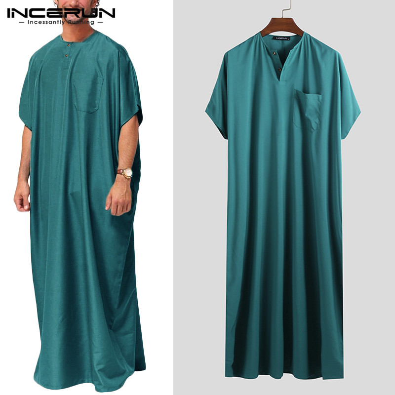 INCERUN Jubba Thobe Men Islamic Arabic Kaftan Solid Short Sleeve Loose Retro Robes Abaya Middle East Muslim Clothing Plus Size 7