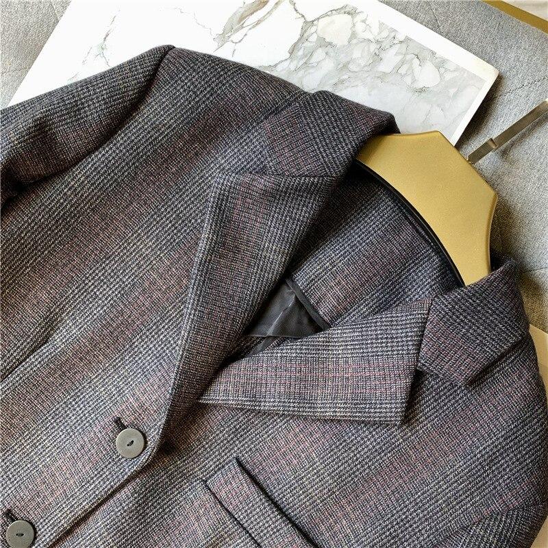 Frauen Wolle Plaid Blazer Mantel Einreiher Büro Dame Jacke Mantel mit Taschen 2019 Herbst Winter Neue - 4