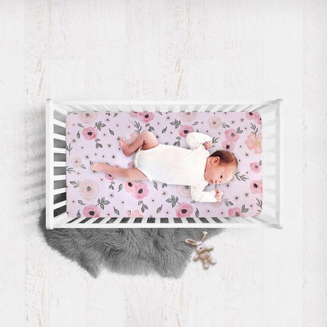 1 ud. Sábana ajustable de cuna suave transpirable cama de bebé cubierta de colchón impresión ropa de cama de recién nacido para cuna tamaño 130 × 70cm