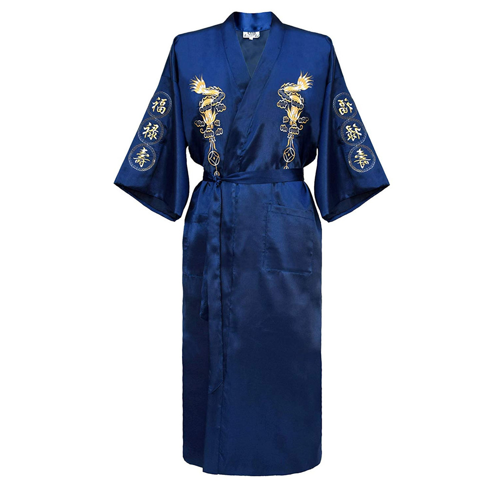 Traditional Male Sleepwear Chinese Men's Embroidery Dragon Robes Loose Nightwear Kimono Bathrobe Gown Home Clothing Negligee