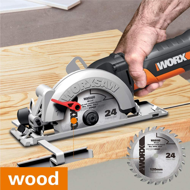 Worx 500W Electric Saw WX439 Circular Saw 120mm Compact Household Power Tools Cutting-machine Multi-function Mini Saw handheld 6