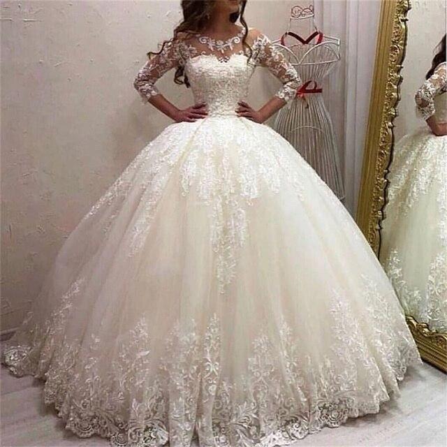 Princesa vestido de baile vestidos de casamento 2020 colher tule e com apliques vestidos de noiva robe de mariee varredura trem vestido de noiva 3