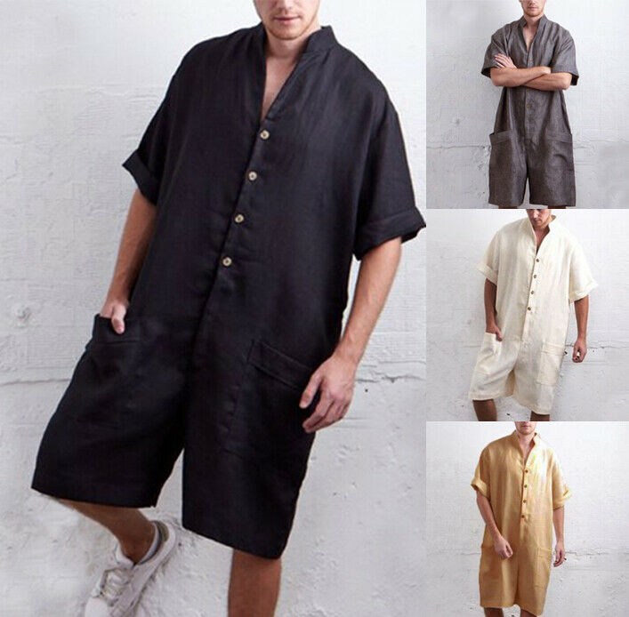 Mens One Piece Casual Jumpsuit Romper Short Sleeve Linen Street Casual Cargo Pants Overalls Playsuit