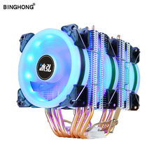 LGA X79 X99 6 cuivre tube CPU radiateur aurora bleu lumière double halo 90MM4PIN ventilateur adapté for775 1155 1366AMD3 AM4CPU ventilateur de refroidissement(China)