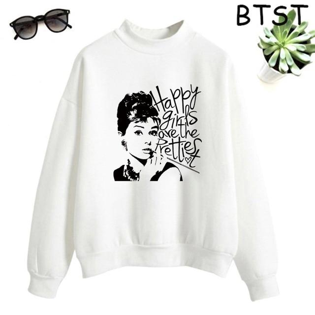 Audrey Hepburn Pink Bubble Kpop Clothes Polyester White Sweatshirt Pullovers Women Sweatshirt Japanese Gothic Harajuku Shirt 4
