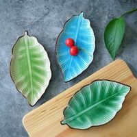 Japanese cuisine rectangular sushi plate creative ice crack ceramic banana leaf tableware household dessert snack dish wj10211