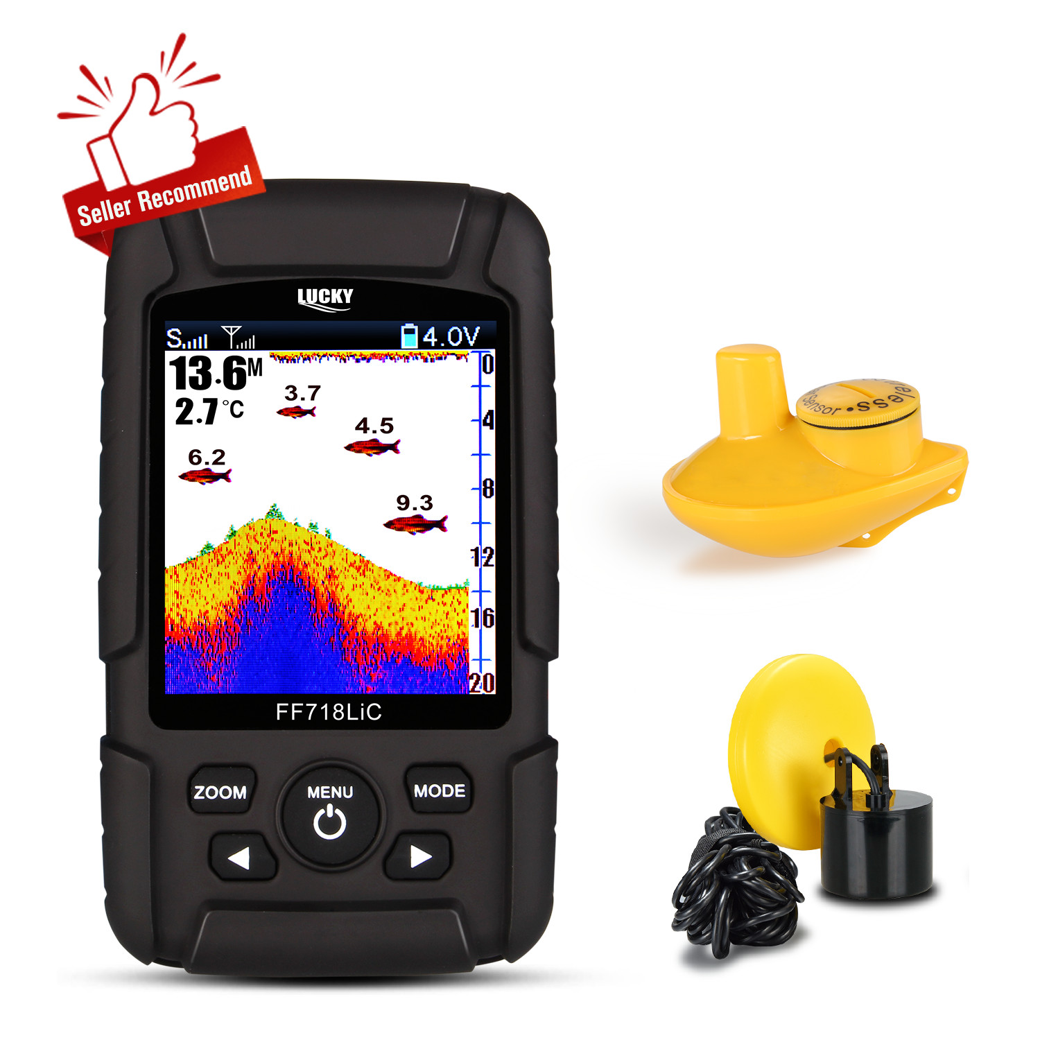 LUCKY FF718LiC depth Fishfinder Transducer 2-in-1 Wired & Wireless Sensor Portable Waterproof echo sounder for All Fishing Types