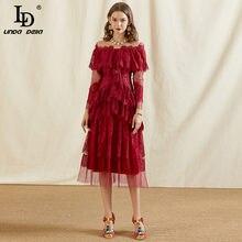 LD LINDA DELLA Summer Fashion Designer abito in pizzo rosso donna manica lunga a strati con volant in maglia Patchwork abiti da festa eleganti 2021
