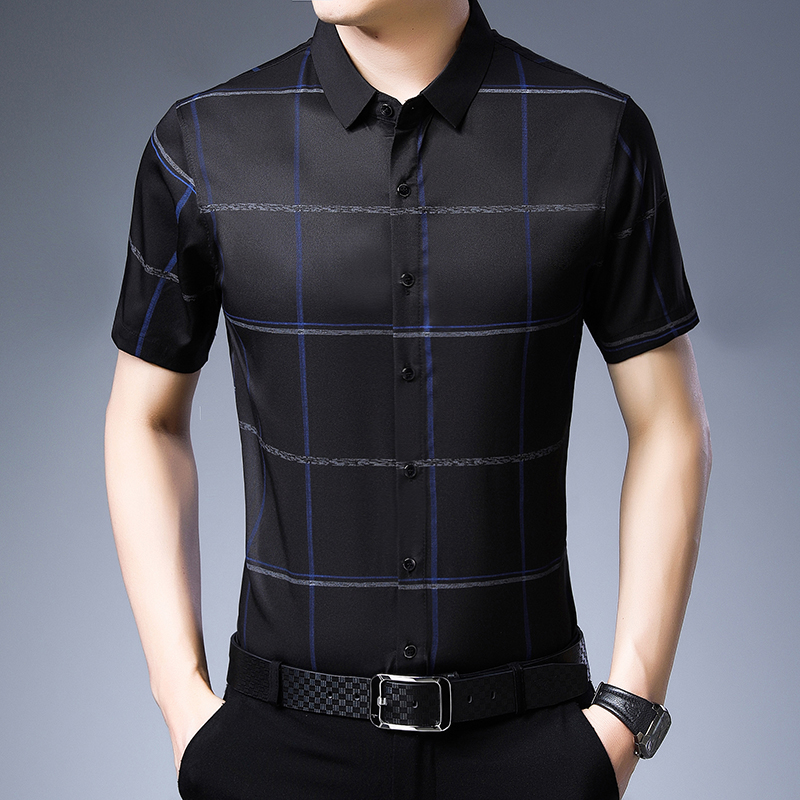 Men Black Color Shirts Short Sleeve Casual Slim Fit Plaid Turn-down Collar Single Breasted Business Shirt Men Clothing