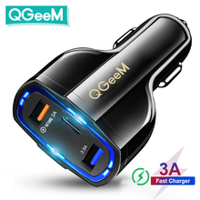 QGEEM QC 3.0 USB C Car Charger 3 Ports Quick Charge 3.0 Fast Charger for Car Phone Charging Adapter for iPhone Xiaomi Mi 9 Redmi