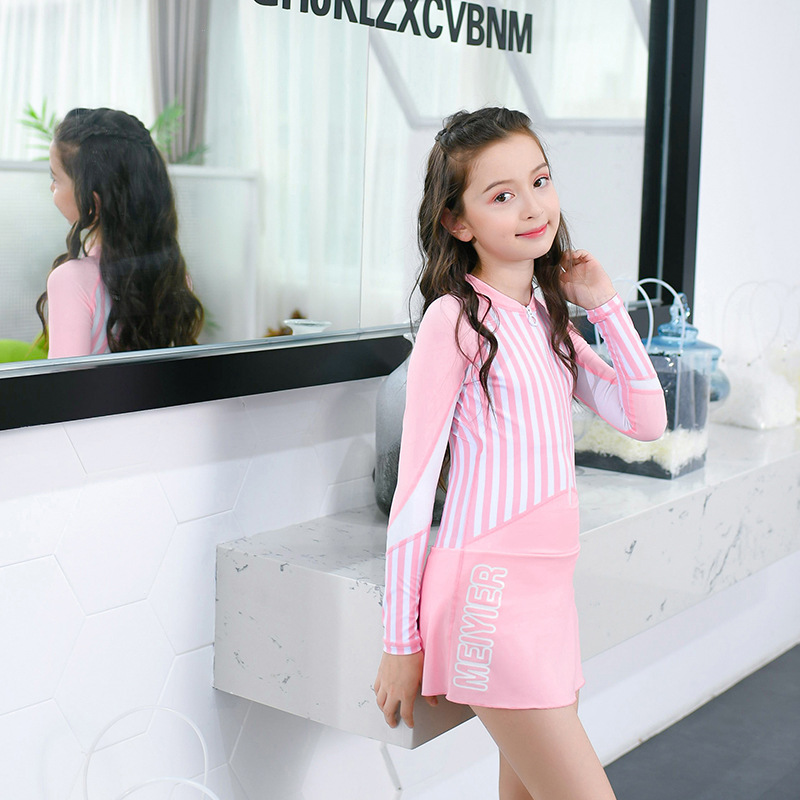 New Style Bathing Suit Women's Dress-Conservative Middle And Large Girls Long Sleeve Students Swimming Lessons Cute Big Kid Bath