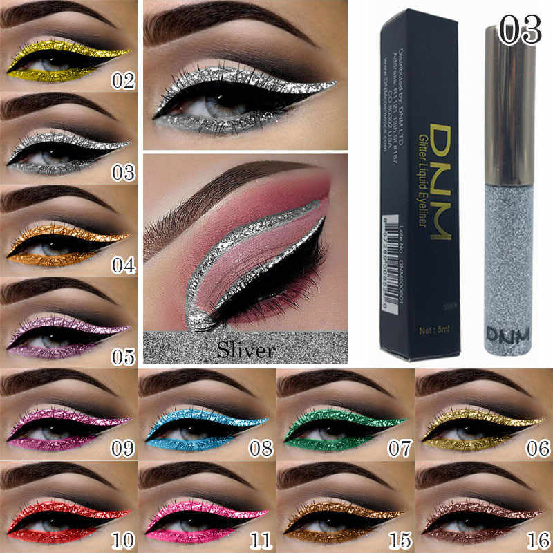 16 Color Bright Shining Eyeliners Pearlescent Color Sequins Strobe Diamond Liquid Glitter Eyeliner Makeup Beauty Cosmetic TSLM1