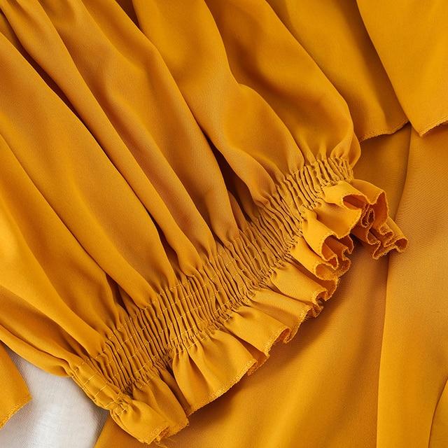Fitaylor Korean Sexy Slash Neck Off Shoulder Short Shirts Sets Elastic High Waist Chiffon Ankle Length Pants 2 Piece Set Suits 4