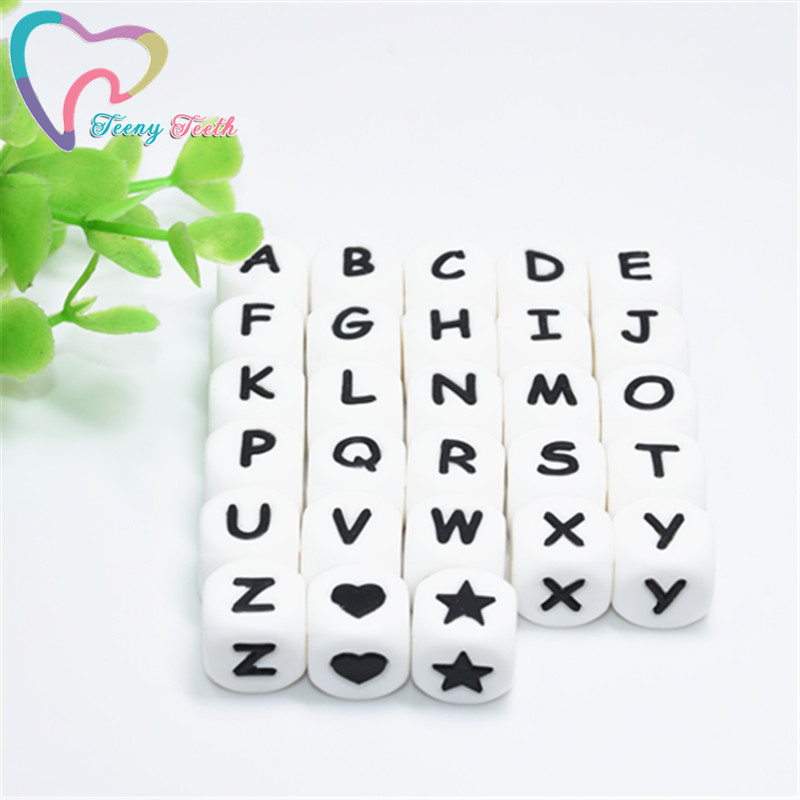10 PCS Silicone Beads Letter Baby Teether Beads Insert Name On Pacifier Chain Clips Chewing Alphabet Beads Baby Toy Mini Star