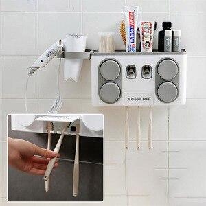 Image 5 - Juego de soporte para cepillo de dientes familiar, estante de almacenamiento de cepillos de dientes de plástico de fácil instalación, dispensador de pasta dental con 4 tazas