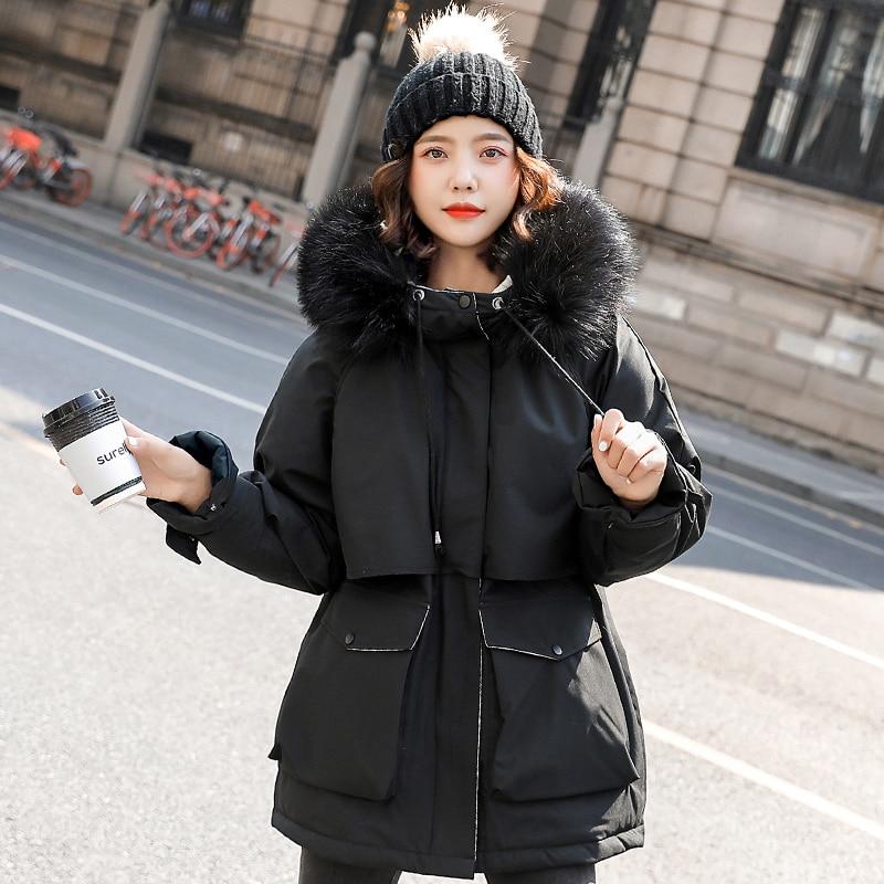 2020 coton épaissir chaud veste manteau femmes décontracté longues Parkas hiver grande fourrure à capuche Parka Mujer manteaux