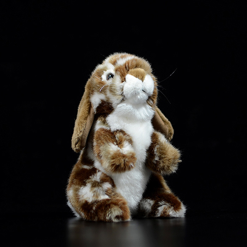 19cm Cute White Brown Holland Lop Eared Rabbit Dolls Simulation Lovely Bunny Animal Soft Stuffed Plush Toy Children Kids Gift