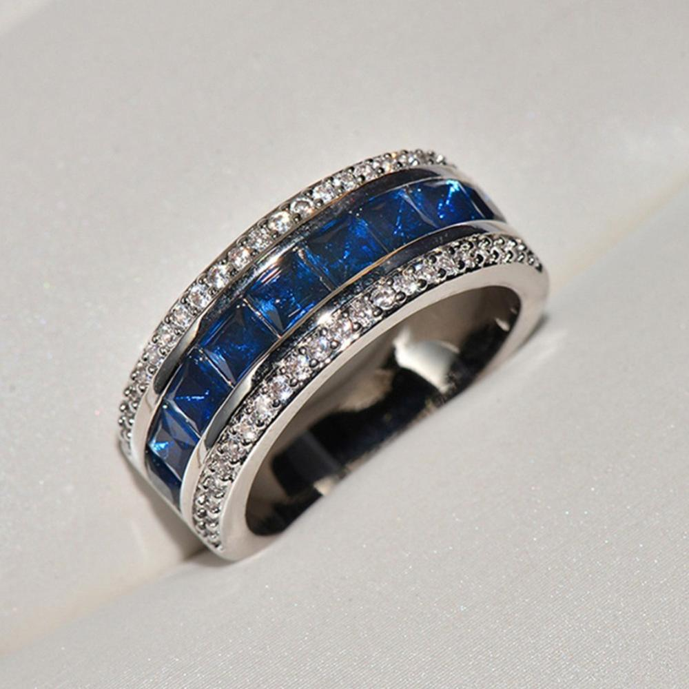 Luxury 925 Sterling Silver Men S Ring Created Blue Sapphire Wedding Engagement Rings For Women Girls Rings Aliexpress