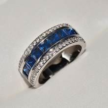 Luxo 925 prata esterlina masculino anel criado azul safira casamento anéis de noivado para meninas femininas