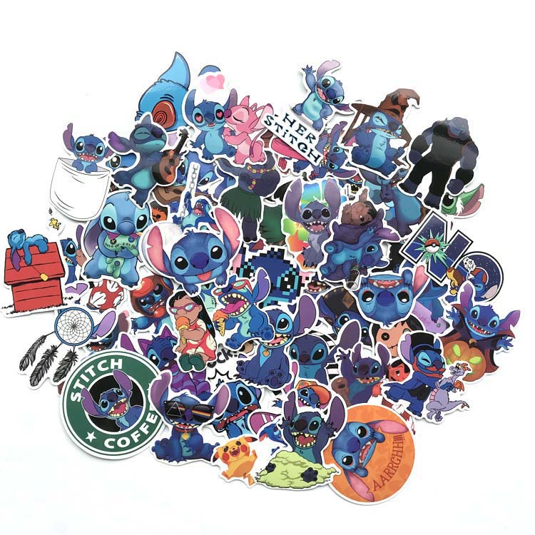 52Pcs Classics Stich Cute Cartoon  For Luggage  Handbags Phone  Notebook Motorcycle Waterproof Car Sticker