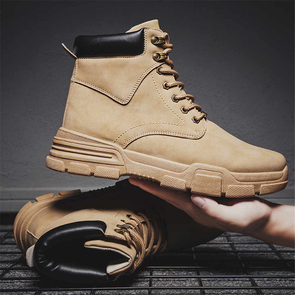 New Fashion Warm Winter Men Boots Genuine Leather Ankle Boots Men Winter Work Shoes Men Military Leather Snow Boots For Men Bota