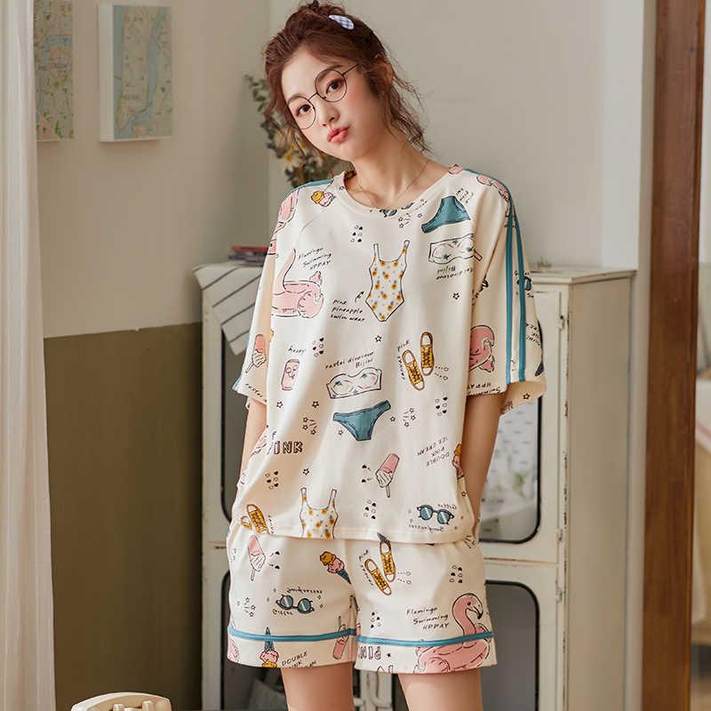 BZEL 간단한 잠옷 잠옷 여성 잠옷 면화 짧은 소매 숙녀 Pijama 세트 Homewear 귀여운 만화 라운지 착용 T-shits