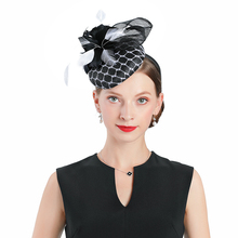 Black And White Ladies Church Sinamay Hats For Women Linen Fedora Wedding Fascinators Flower Kentucky Derby Party Hat