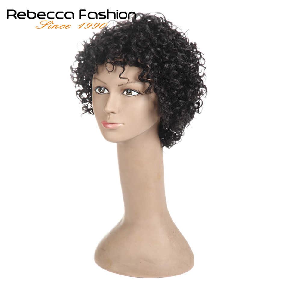 Rebecca Kurz Lose Lockige Perücken Für Schwarze Frauen Brasilianische Remy Bouncy Lockiges Menschliches Haar Perücken Kurze Perücke Blond Rot Cosplay volle Perücke