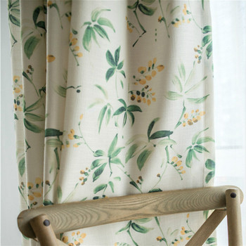 Cortinas de algodón para ventana de campo americano, de lino, color verde, para sala de estar, pájaros, dormitorio, ventana, cortinas opacas