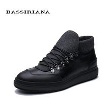 BASSIRIANA New 2019 winter mens leather shoes black trend high quality warm free shipping
