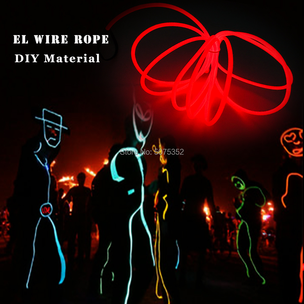 GZYUCHAO EL 1.3mm Flexible EL Wire Rope Waterproof EL Tube Neon Led Light Cable DIY Material For House Party Decorative