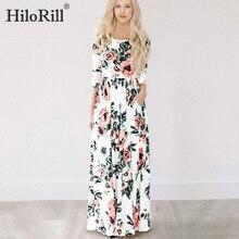 Летнее длинное платье цветочный принт богемное пляжное платье туника Макси платье женское вечернее платье Сарафан XXXL
