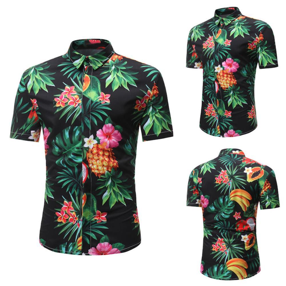 Hawaiian Beach Man Pineapple Leaf Print Lapel Shirt Men's Casual Floral Shirt