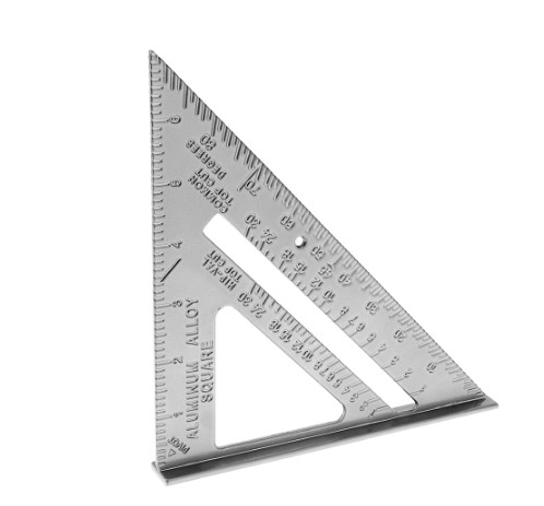7 Inch Aluminium Alloy Right Angle Triangle Ruler With 0.1 Accuracy And 1 Scale Value Protractor Measuring Tool For Carpenter