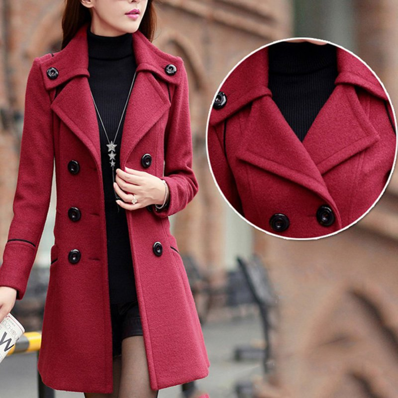 Coat Outwear Trench-Pockets Wool Female Double-Breasted Winter Women Elegant Slim Solid title=