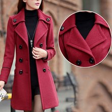 Winter Long Overcoat Women Wool Trench Pockets Double Breasted Solid Slim Elegan