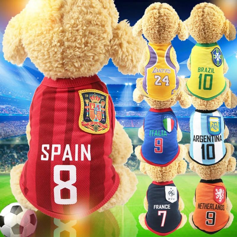 Summer National Soccer Football Team Pet Dog Jersey T-Shirt Pet Shirts Puppy Dog Vest Pet Clothing Costume Apparel