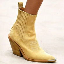 2019 Suede Med Heel Ankle Boots Women Autumn Lady Shoes Woman Black Army Yellow Pointed Toe