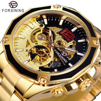 Forsining Transparent Open Work Golden Stainless Steel Mens Automatic Sport Wristwatch Mechanical Skeleton Top Brand Luxury Hour forsining golden skeleton mechanical watches men luxury brand watch automatic stainless steel casual wristwatch hollow out clock