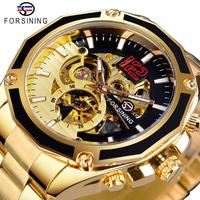 Forsining transparente trabalho aberto ouro aço inoxidável dos homens automático esporte relógio de pulso esqueleto mecânico marca superior luxo hora