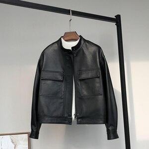 Nerazzurri curto preto falso jaqueta de couro feminino bolsos com zíper manga longa gola mandarim plus size roupas femininas streetwear