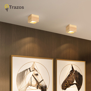 Image 1 - LED 통 표면 6W 천장 조명 Led 천장 Downlight 북유럽 철 + 나무 스포트 라이트 실내 로비, 거실