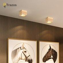 Ledダウンライトの表面6ワット天井ライトled実装天井ダウンライト北欧 + 木製スポット屋内玄関、リビングルーム