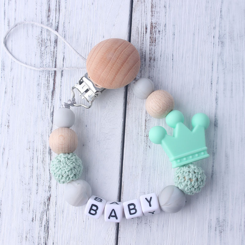 1 Pcs Baby Silicone Toys Pacifier Chain Baby Pacifier Clips Crochet Beads Silicone Crown Pacifier Chain Holder Baby Shower Gifts