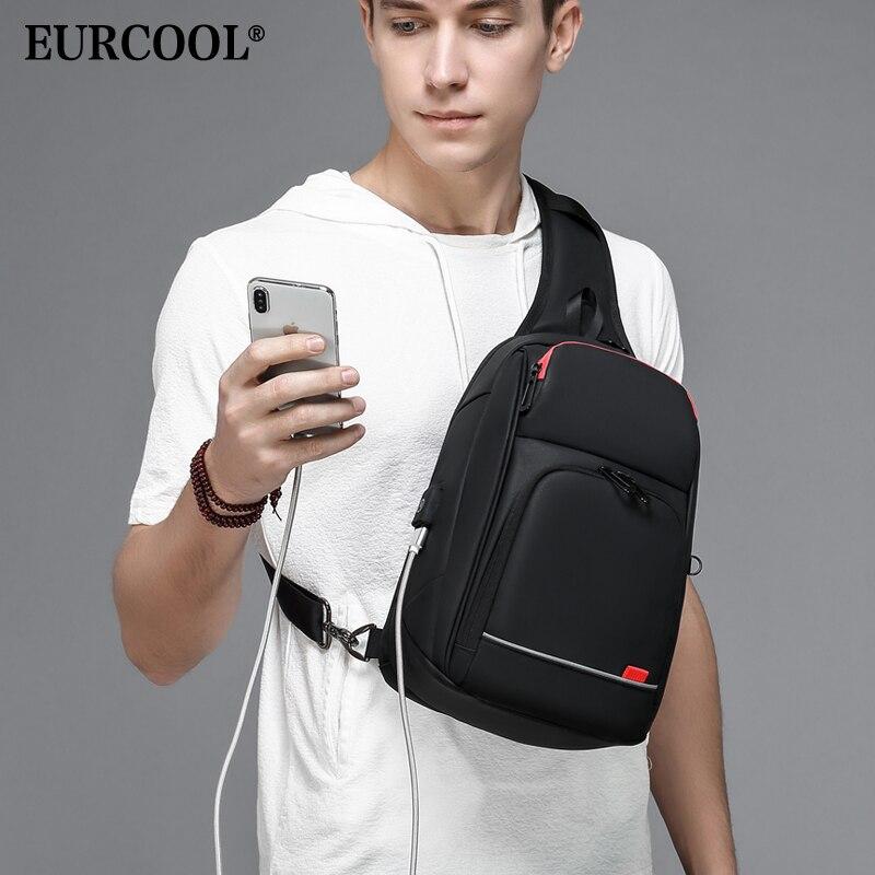"EURCOOL  9.7"" iPad Crossbody Shoulder Bag for Men Short Trip Messenger Bags Water Repellent USB Charging Chest Packs n1906"